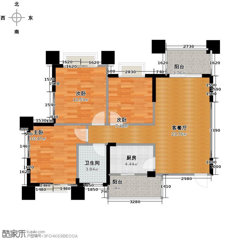 远洋朗郡89.00㎡二期2011年3月中旬开盘C9-1户型3室1厅1卫1厨