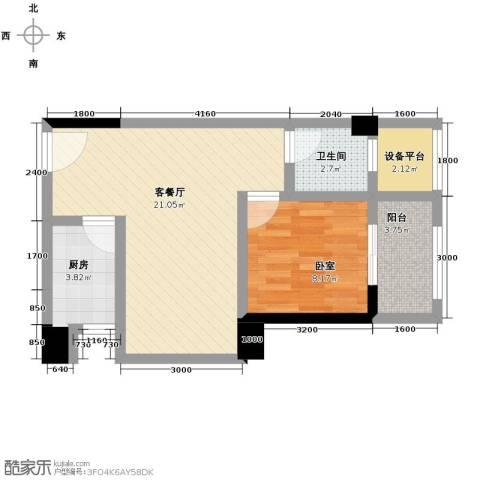 汉城壹号1室1厅1卫0厨55.00㎡户型图