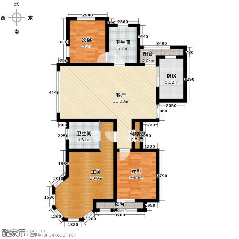 新湖香格里拉138.00㎡高层A户型3室2厅2卫