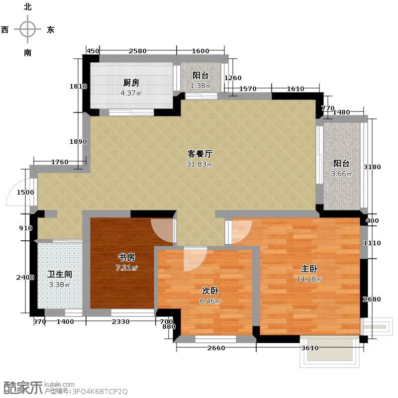 清江山水90.43㎡E2一期户型3室2厅1卫