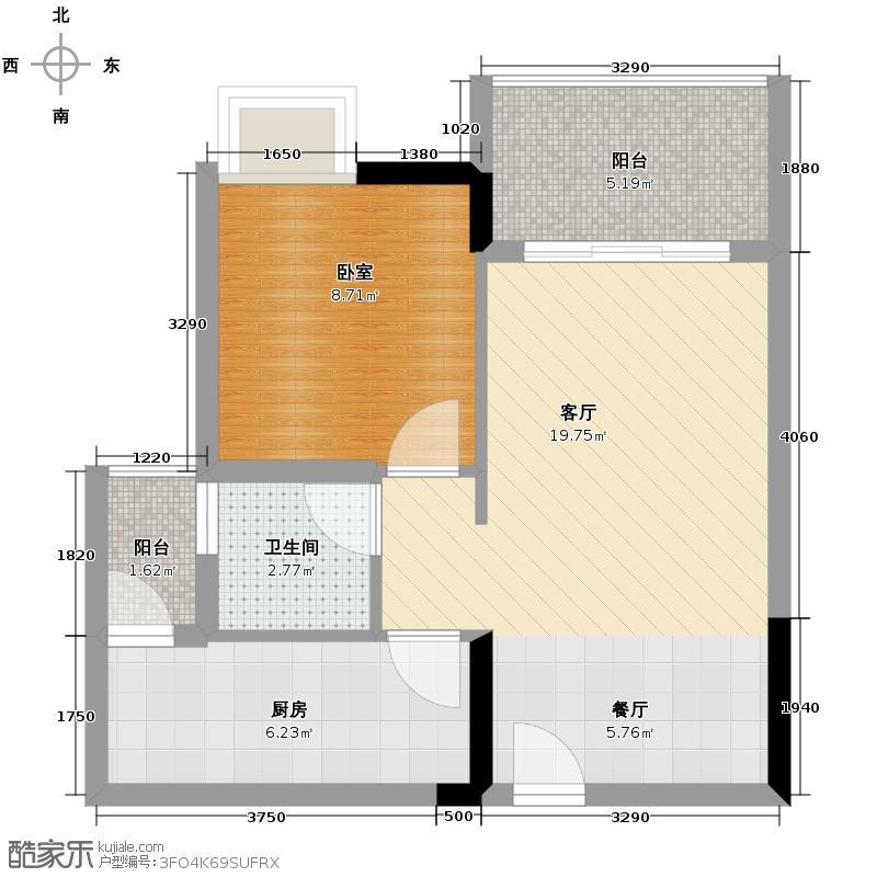 富力城46.50㎡E6栋2号户型1室2厅1卫
