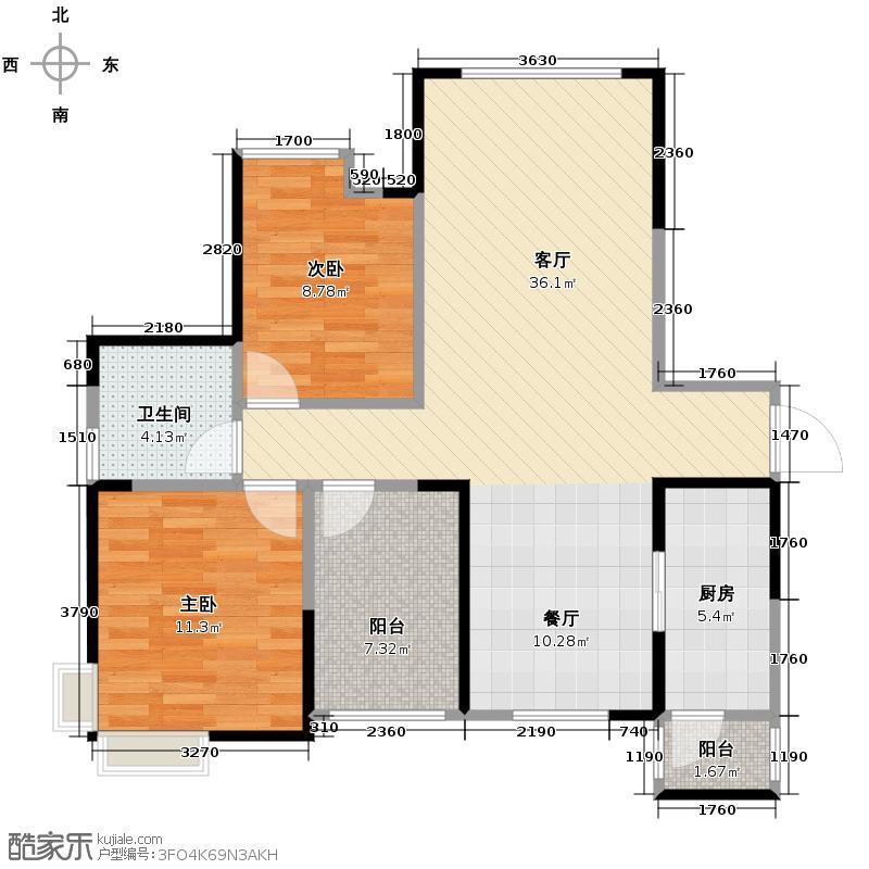 保利金香槟97.09㎡2-1-02/2-2-04户型2室1厅1卫1厨