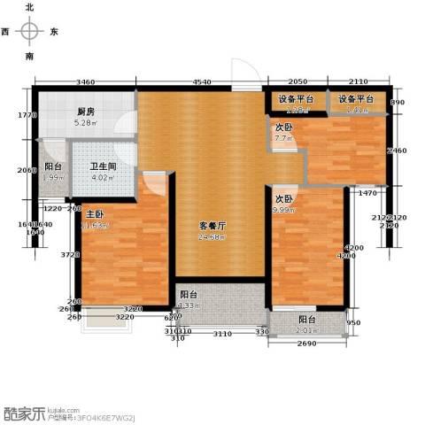 恒大名都3室2厅1卫0厨99.00㎡户型图