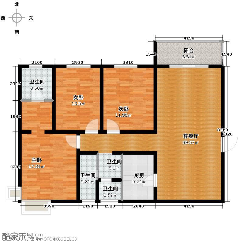 风憬天下118.16㎡12号楼A户型3室2厅2卫