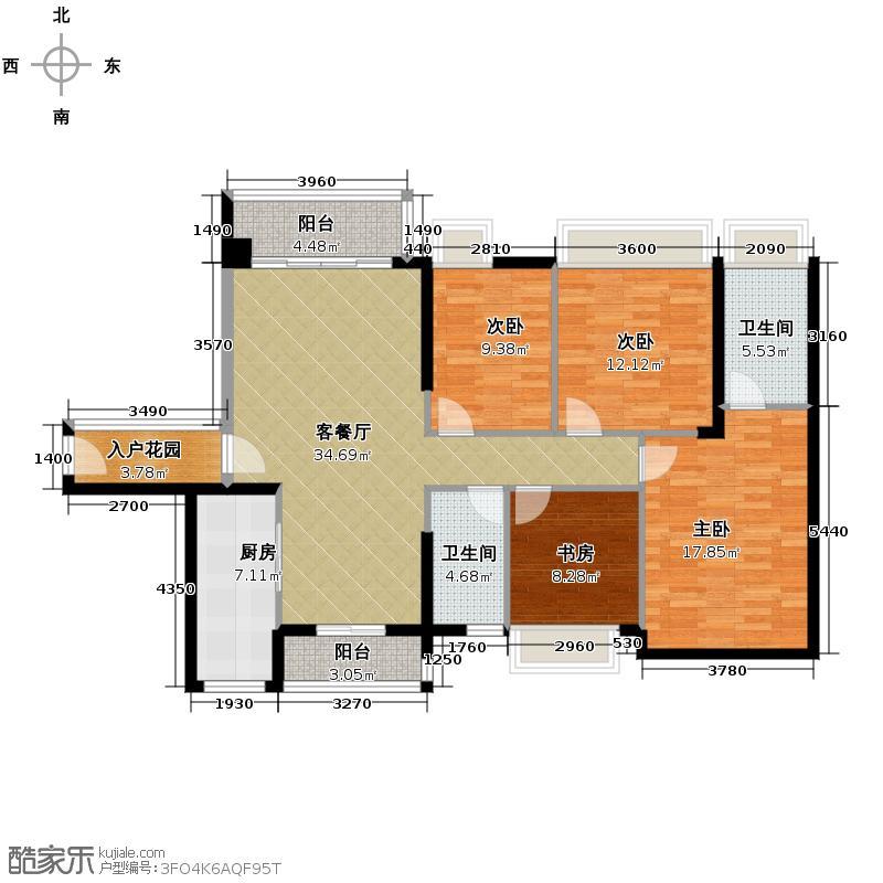 南沙创鸿汇141.00㎡2栋B04和A03四方户型4室2厅2卫