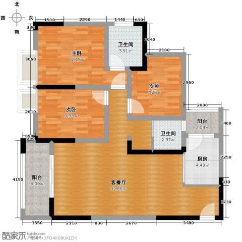 春江花月3室1厅2卫1厨87.00㎡户型图
