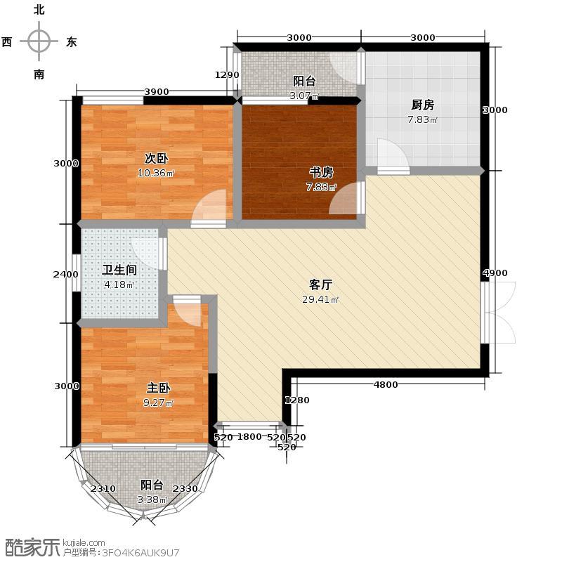 上林沣苑100.25㎡户型3室2厅1卫