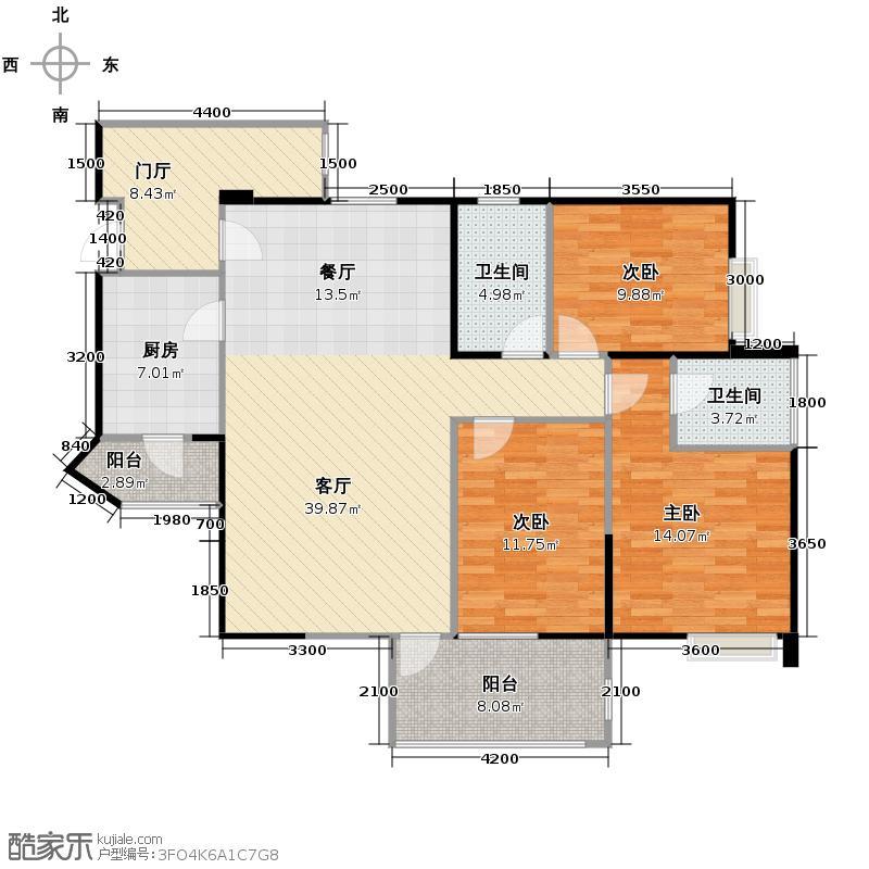 礼顿山1号123.00㎡K偶数层双卫赠送户型3室1厅2卫1厨