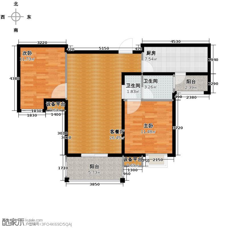 山水悦庭96.00㎡1/5/7号楼F1户型2室1厅2卫1厨