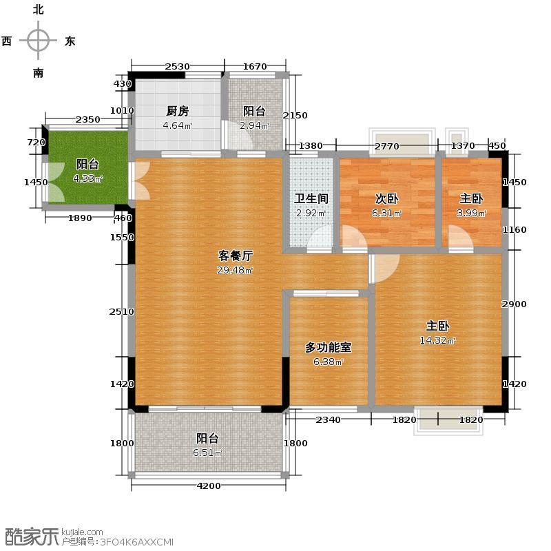 人盛巴厘天地128.63㎡14号楼1梯02单位户型3室2厅2卫