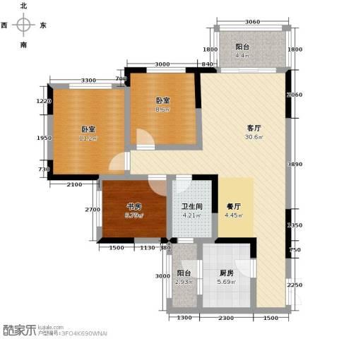 神仙树缤纷1室1厅1卫1厨88.00㎡户型图