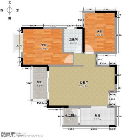 恒通御景天都2室1厅1卫1厨65.00㎡户型图