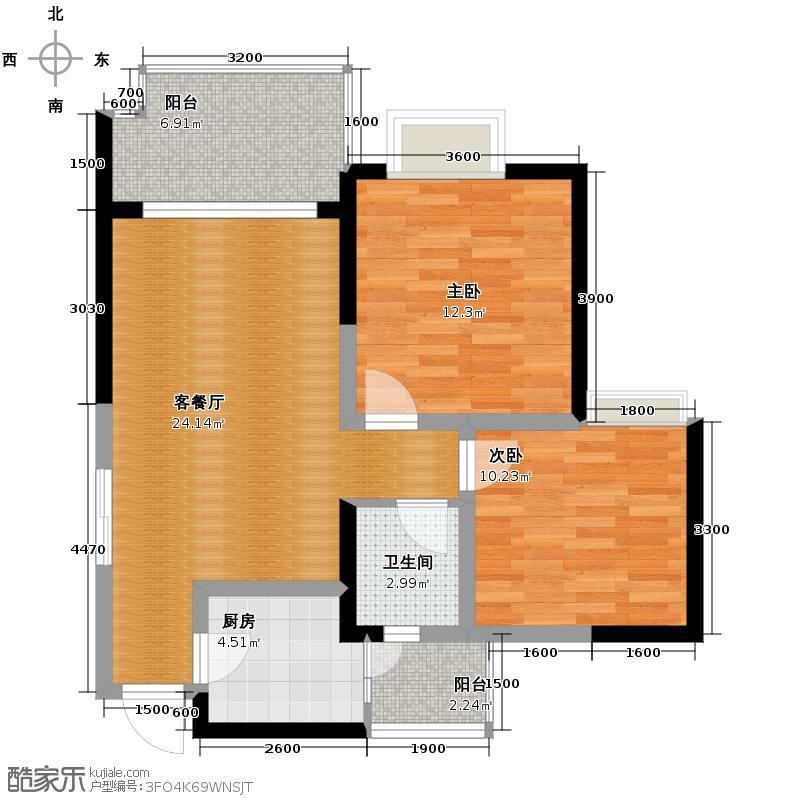 慕和南道80.13㎡二期天堂岛16栋奇偶层户型2室1厅1卫1厨