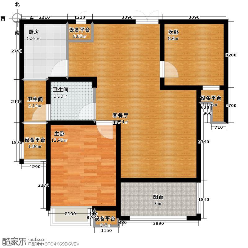 兴汝金城83.57㎡逸麟阁4栋B户型2室2厅1卫