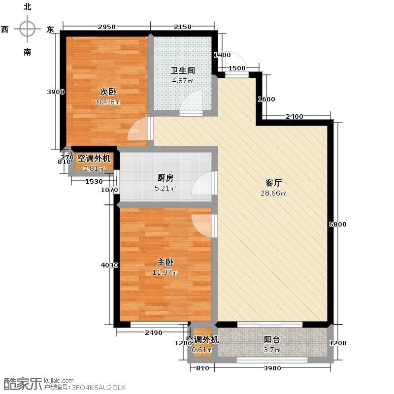 中国铁建国际城91.00㎡12号楼J户型2室2厅1卫