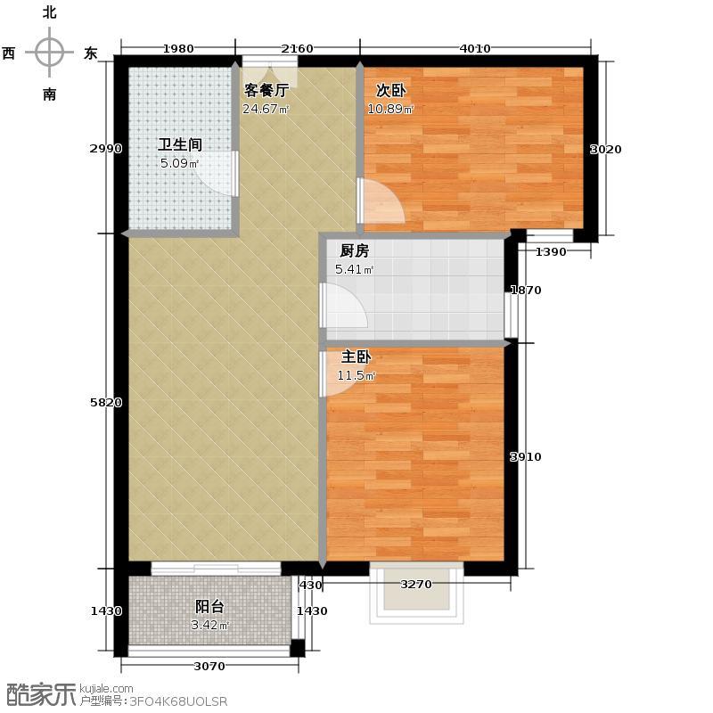 金润凤凰洲90.24㎡B34、5号楼户型2室2厅1卫