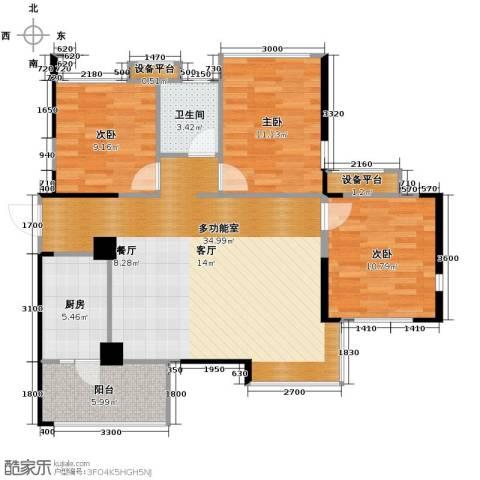 蒂梵尼TOWN3室2厅1卫0厨95.00㎡户型图