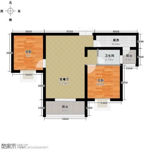 秦水名邸2室1厅1卫1厨88.00㎡户型图
