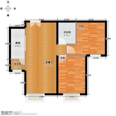北京华贸城2室2厅1卫0厨85.00㎡户型图