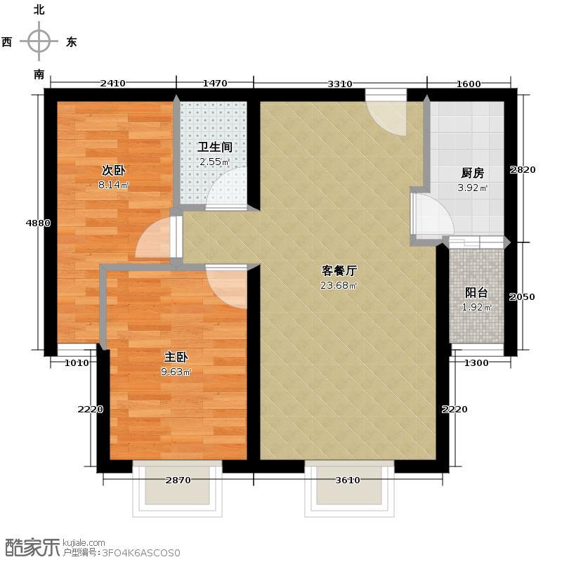 上上城青年社区二期57.29㎡F-2-3户型2室1厅1卫1厨