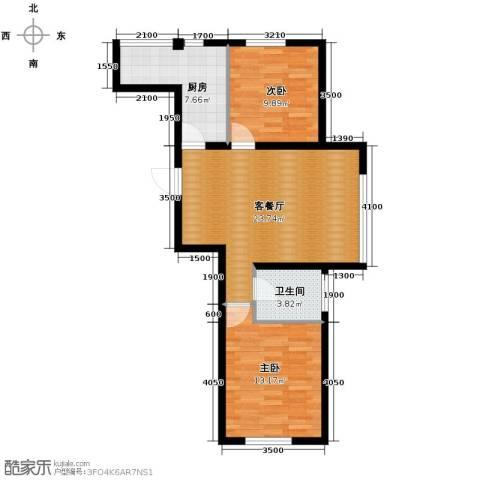 欧博城2室2厅1卫0厨86.00㎡户型图
