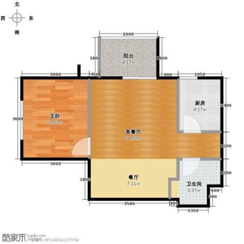 青年城1室1厅1卫1厨59.00㎡户型图