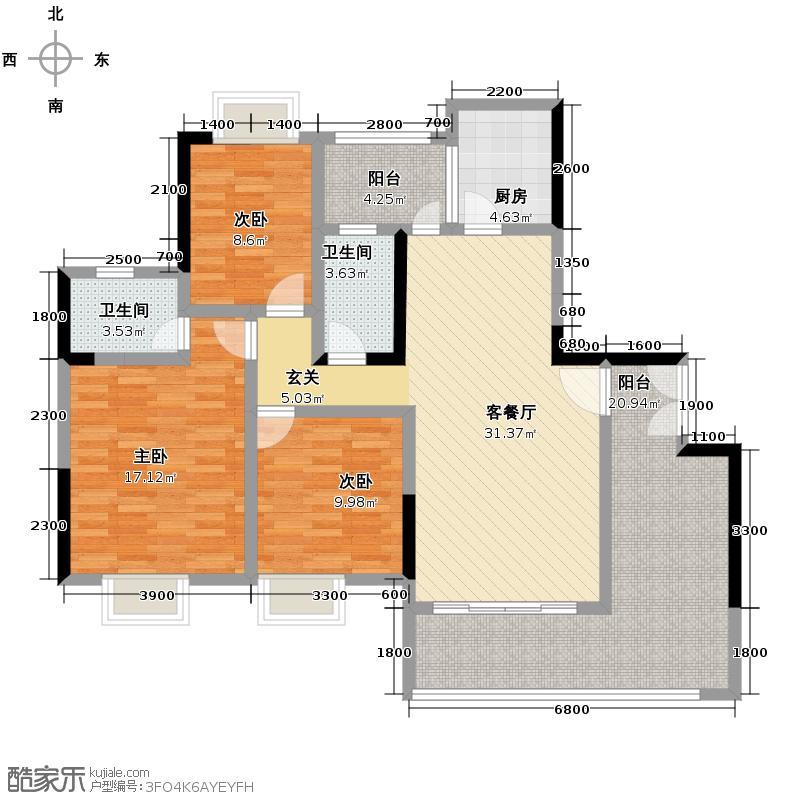 珠光御景山水城125.00㎡10栋02单位02户型3室2厅2卫