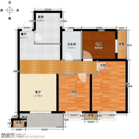 金辉天鹅湾3室2厅1卫0厨98.00㎡户型图