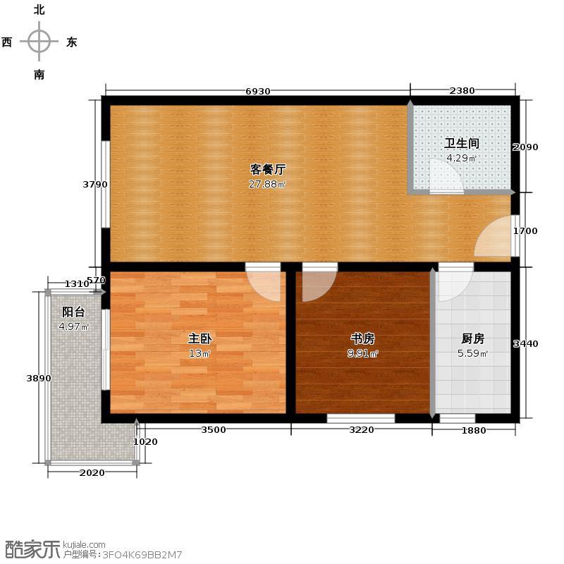 皇族名居2期87.53㎡二期6#楼C3/C4户型2室2厅1卫