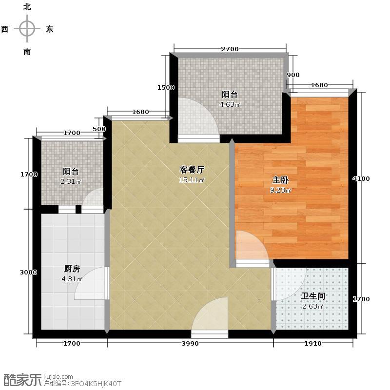 九峰东方明珠78.00㎡一期1-6号楼33层A2jpg户型1室1厅1卫1厨
