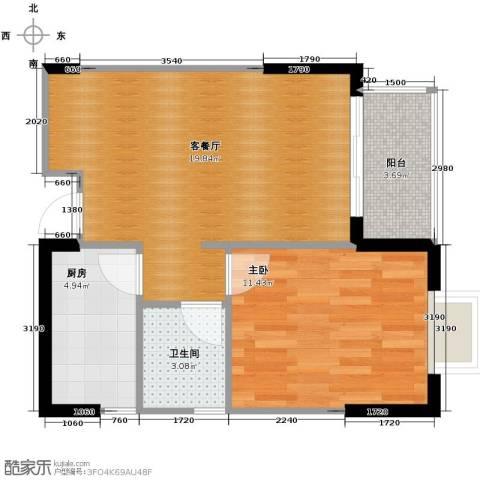 恒通御景天都1室1厅1卫1厨60.00㎡户型图