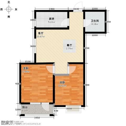 新梅江雅境新枫尚2室2厅1卫0厨85.00㎡户型图