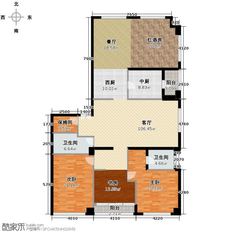 奥东18号251.37㎡N户型2室1厅2卫