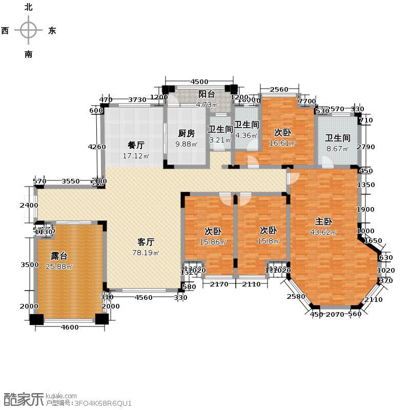 鸥鹏华府265.00㎡9号楼平层A2户型5室2厅3卫