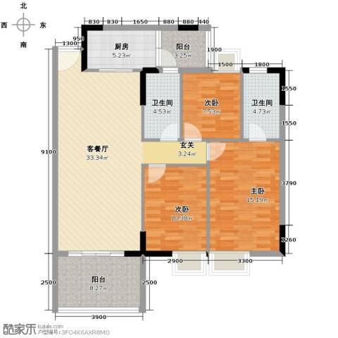新时代家园3室2厅1卫0厨110.00㎡户型图