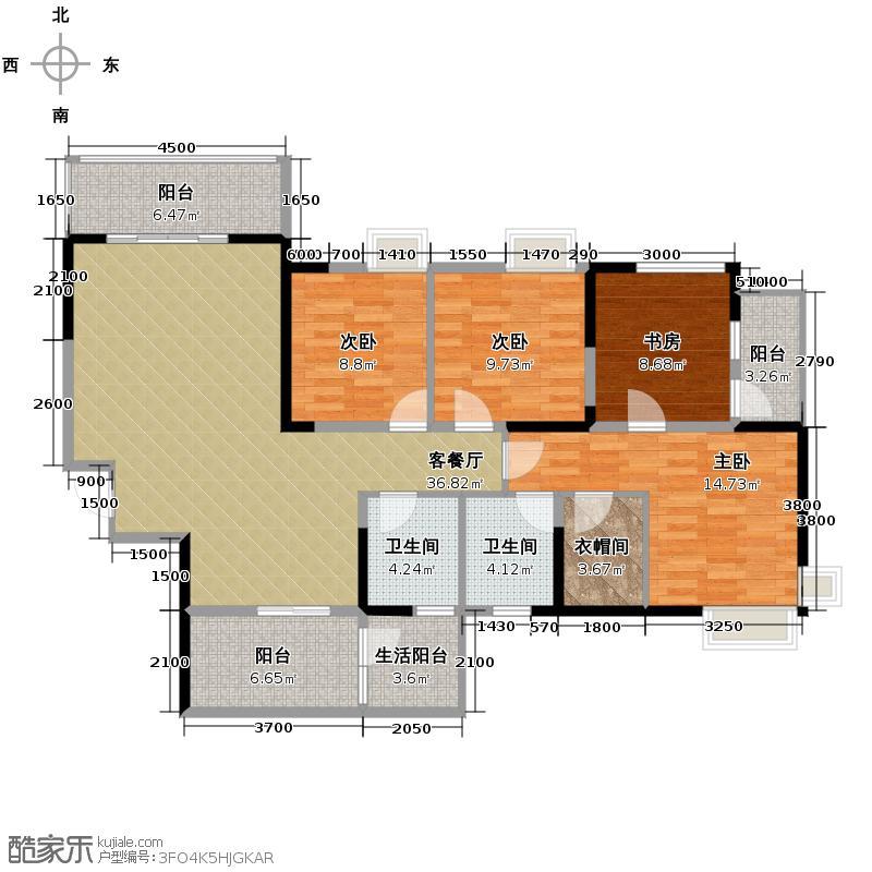 锦城世家143.69㎡E-1户型10室