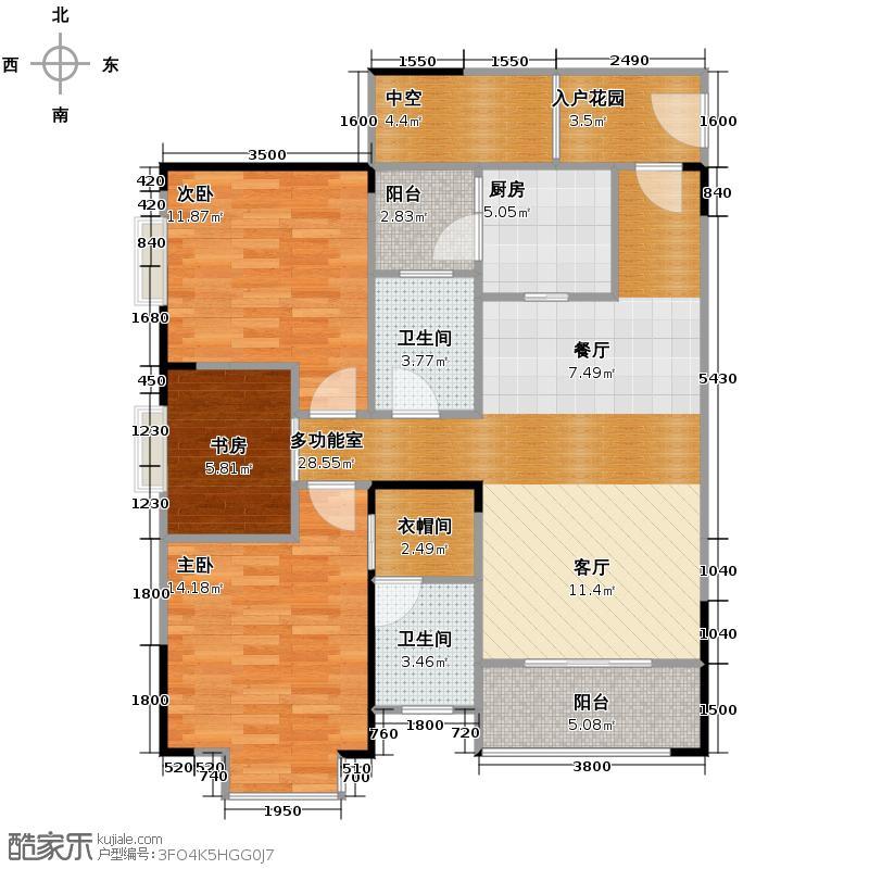 芸峰天梭派2.00㎡2期5/6号楼5/7号房双阳台套内面积858建筑面积10502户型3室2卫1厨