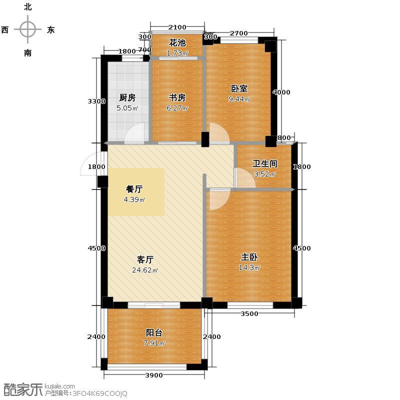 锦绣龙城八期鎏园95.00㎡D2户型2室2厅1卫