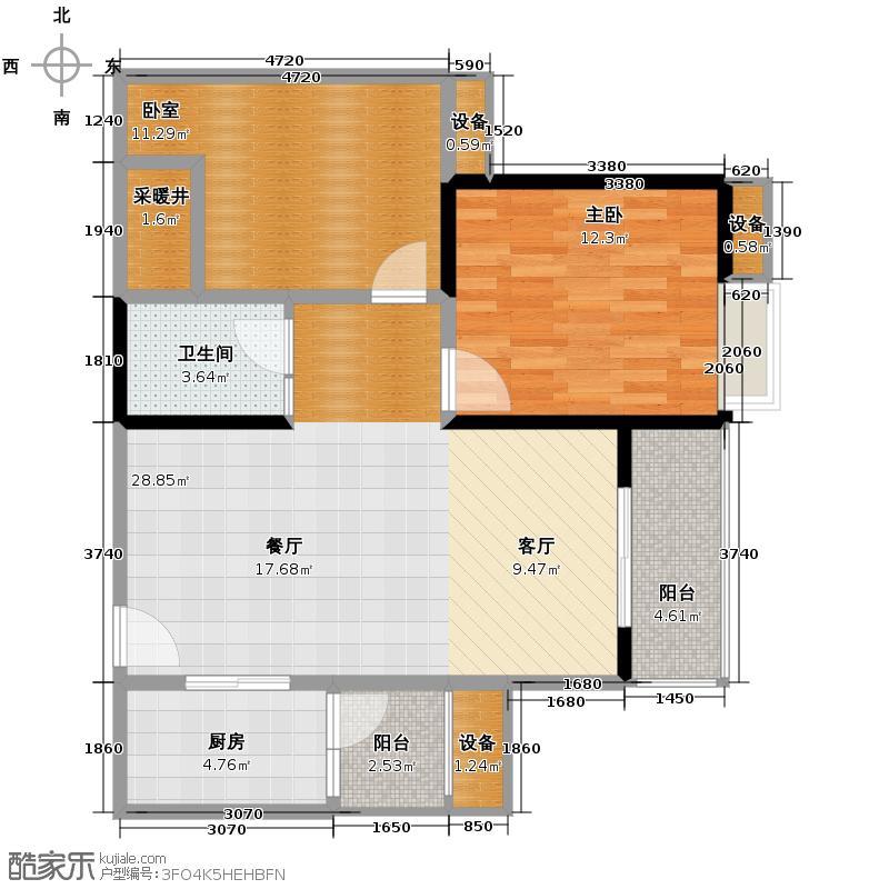 大兴新悦城95.54㎡1号楼F户型2室2厅1卫