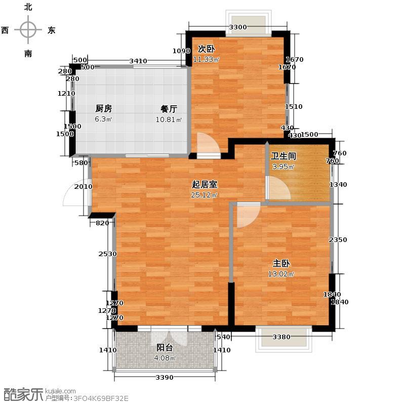 剑桥港湾98.00㎡高层C3户型2室2厅1卫
