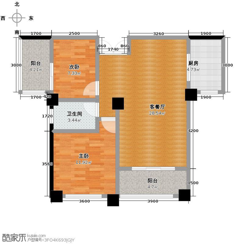 兆基君城85.00㎡户型2室2厅1卫