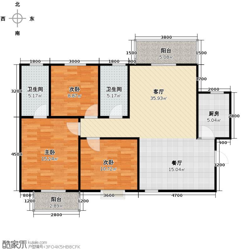 香缤国际城125.91㎡8#A户型3室2厅2卫