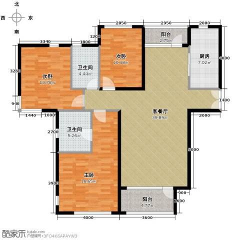 亿城堂庭3室1厅2卫1厨150.00㎡户型图