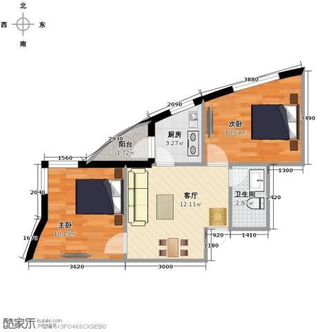 天和人家2室1厅1卫0厨58.00㎡户型图