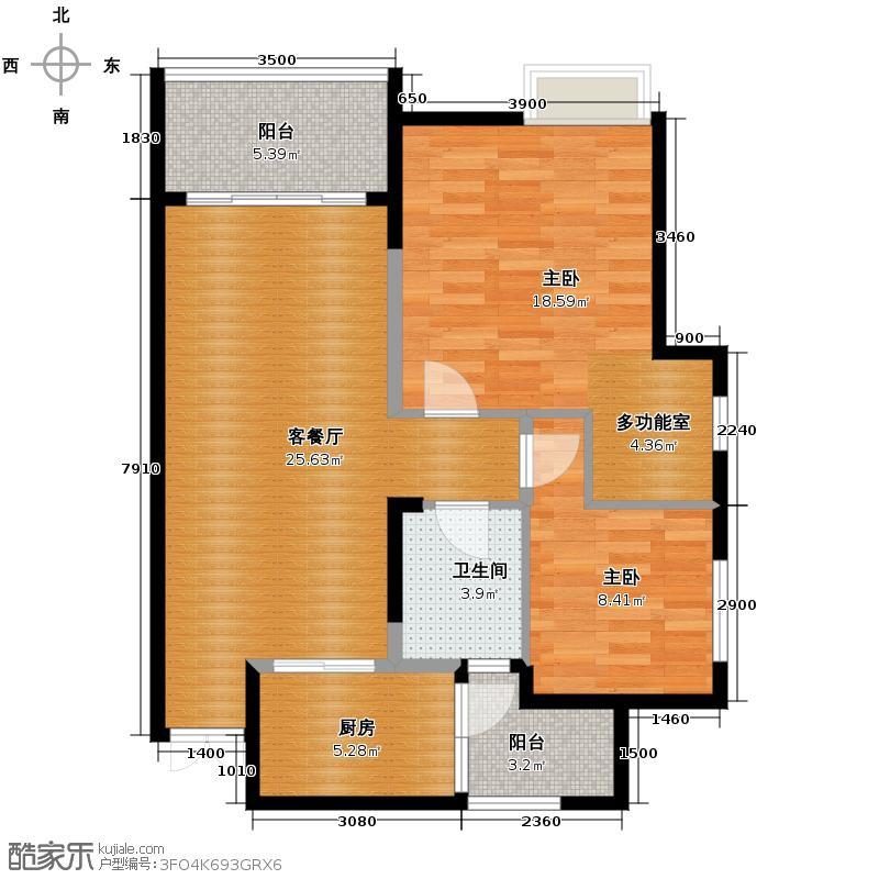 中亿阳明山水79.37㎡9#-4单卫带多功能房户型10室