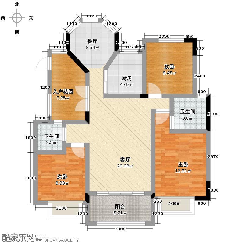 洪城东公馆107.00㎡F1户型3室2厅2卫