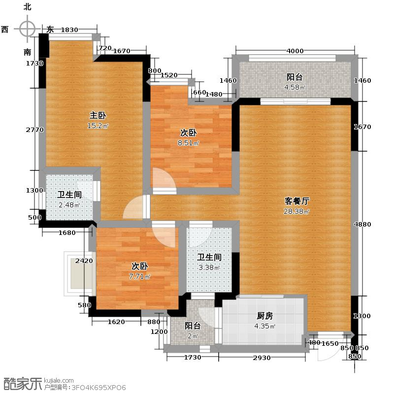 正源缙云山水98.90㎡一期1号楼04户型3室1厅2卫1厨