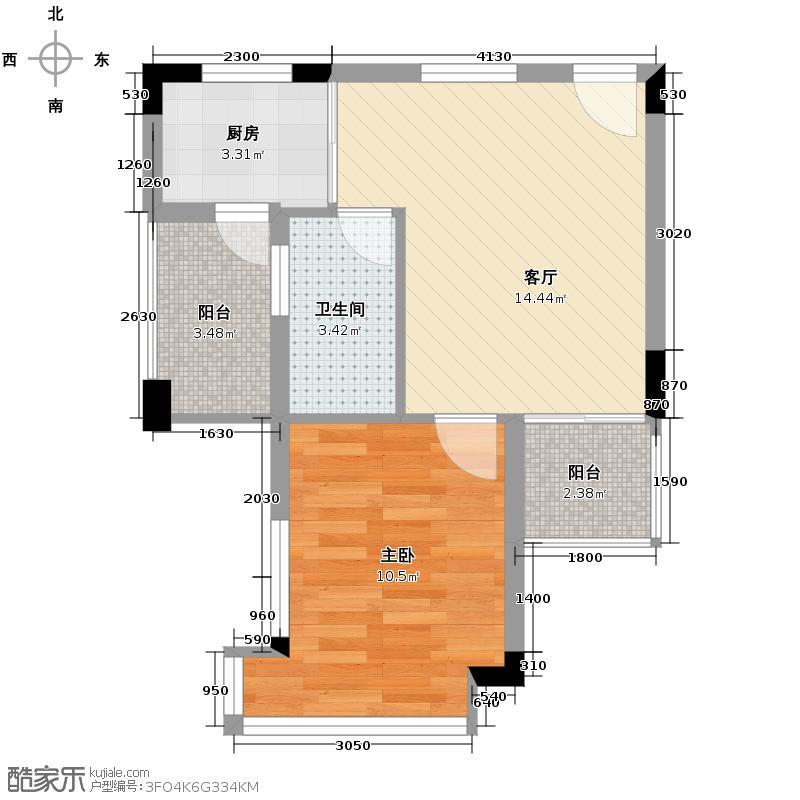 中惠�庭43.27㎡26栋花庭美墅户型1室1厅1卫1厨