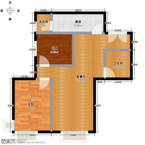 北京华贸城2室2厅1卫0厨80.00㎡户型图