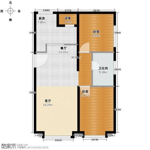 保利金香槟2室2厅1卫0厨104.00㎡户型图